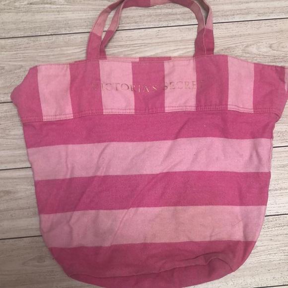 Victoria's Secret Handbags - Victoria's Secret pink striped large tote bag